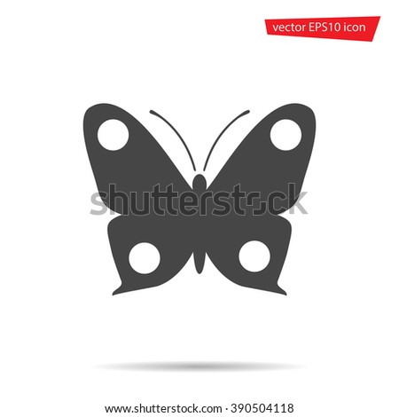Gray Butterfly icon isolated on background. Modern flat pictogram, business, marketing, internet concept. Trendy Simple vector symbol for web site design or button to mobile app. Logo illustration  - stock vector