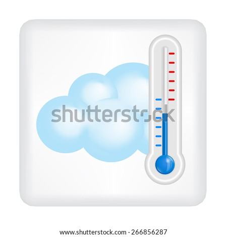 Gray button with blue cloud and blue thermometer vector