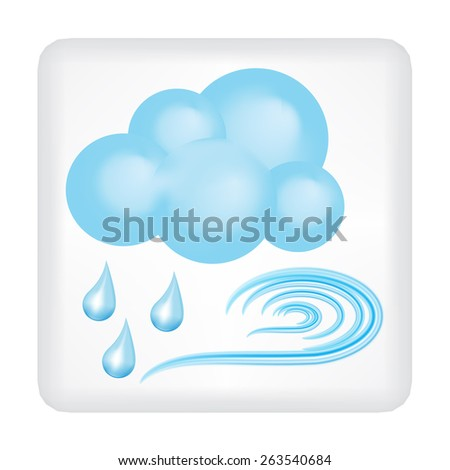 Gray button with blue cloud, blue wind and three drops of rain vector