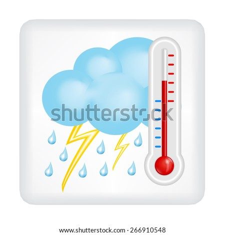 Gray button with blue cloud, drops of rain, lightning and red thermometer  vector - stock vector