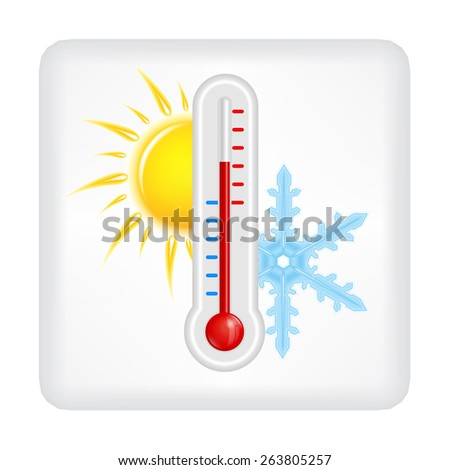 Gray button with yellow sun, blue snowflake and red thermometer vector
