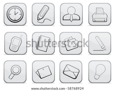 Gray buttons for web. Vector illustration - stock vector