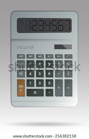 Gray Calculator - stock vector