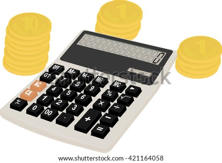 gray calculator and row of gold yellow coins - stock vector