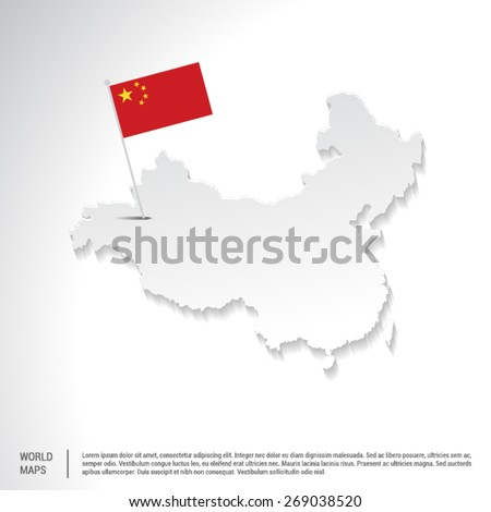 Gray China Map with Hanging flag on Gray template - stock vector