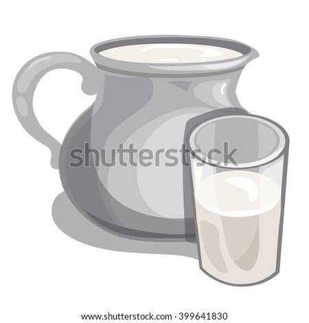 Gray clay jug and glass of milk isolated on white background. Vector illustration. - stock vector