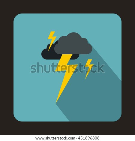 Gray cloud and lightning icon in flat style on a baby blue background - stock vector