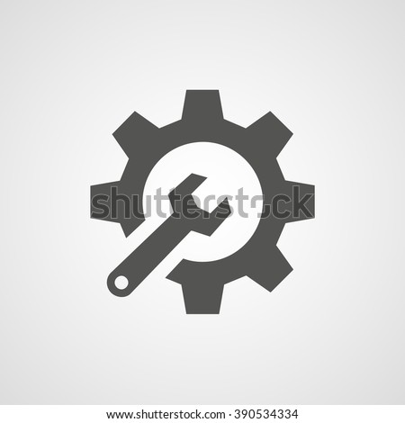 Gray cogwheel setting and wrench vector. Settings icon.  - stock vector