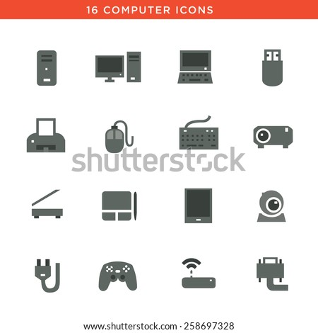Gray computers device icons. Vector pictograms - stock vector