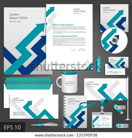 Gray corporate identity template with blue arrows. Vector company style for brandbook and guideline. EPS 10 - stock vector