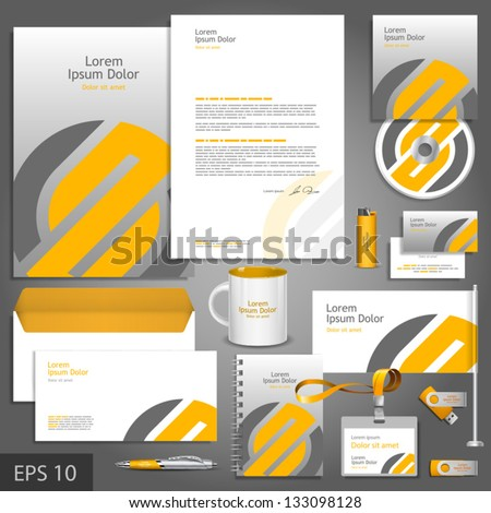 Gray corporate identity template with orange element. Vector company style for brandbook and guideline. EPS 10 - stock vector