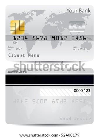 Gray credit card - stock vector