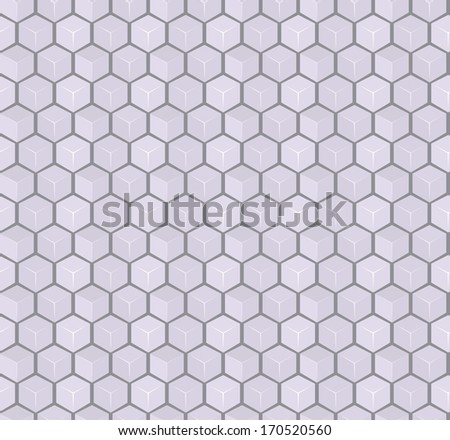 Gray 3d Cube Seamless Pattern. Vector Background