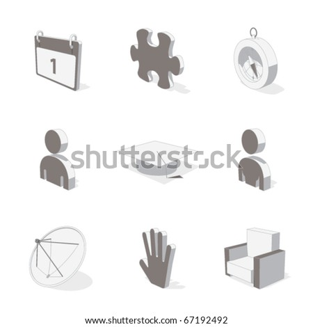 gray 3D icon set 05 - stock vector
