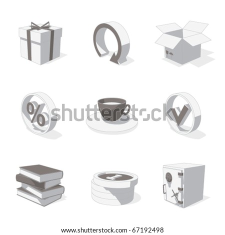 gray 3D icon set 04 - stock vector
