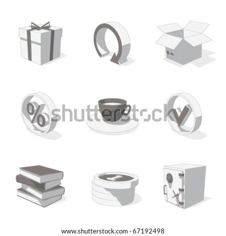 gray 3D icon set 04 - stock vector