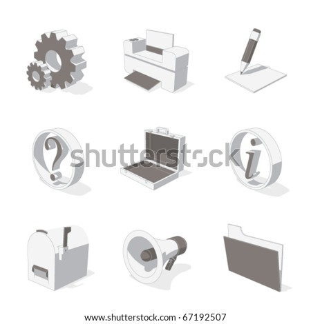 gray 3D icon set 02 - stock vector