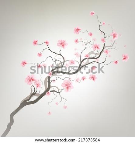 Gray Design Background With Sakura Tree - stock vector