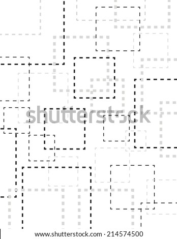 Gray dotted line square over white background - stock vector