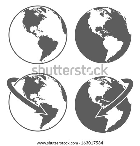 Gray earth icons set on white background. Abstract vector illustration. - stock vector