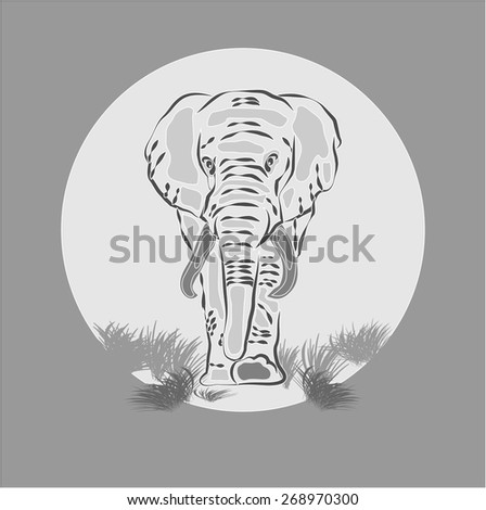 Gray elephant on the background of the moon or the sun - stock vector
