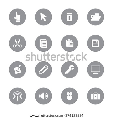 gray flat computer and technology icon set 3 on circle for web design, user interface (UI), infographic and mobile application (apps) - stock vector
