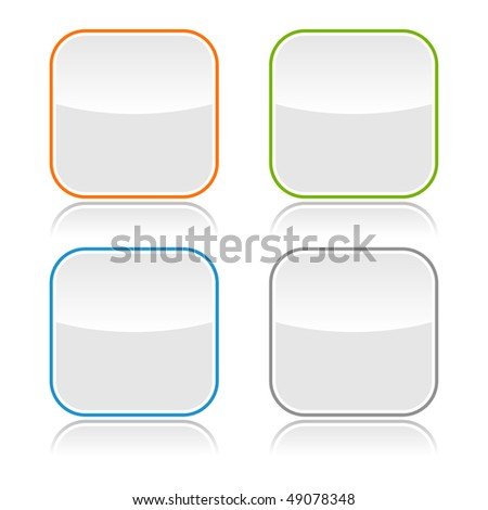 Gray glassy blank web button with color frame - stock vector