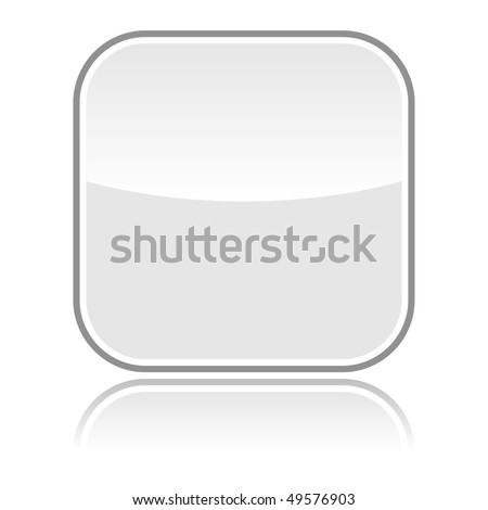 Gray glassy blank web button with gray frame and reflection - stock vector
