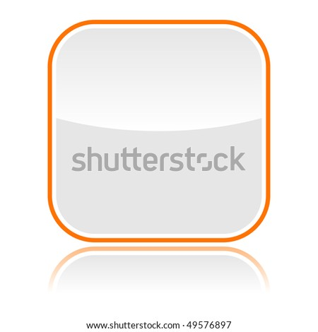 Gray glassy blank web button with orange frame and reflection - stock vector