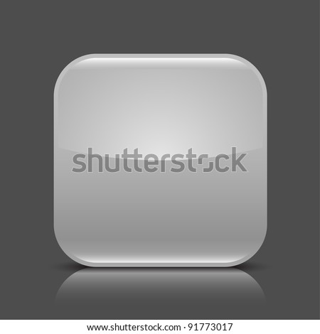 Gray glossy blank web button. Rounded square shape icon with black shadow and colored reflection on dark gray background. This vector illustration created and saved in 8 eps - stock vector