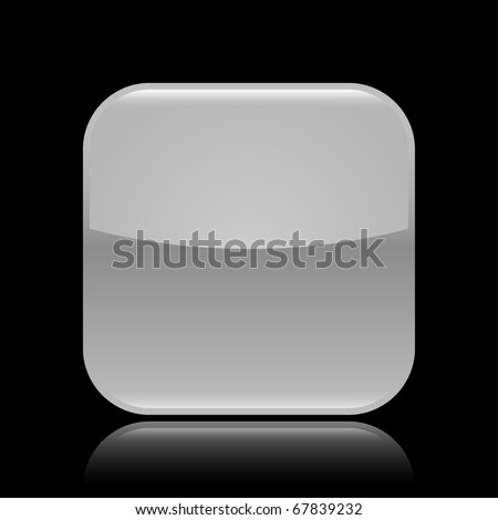Gray glossy blank web 2.0 button with colored reflection on black background - stock vector