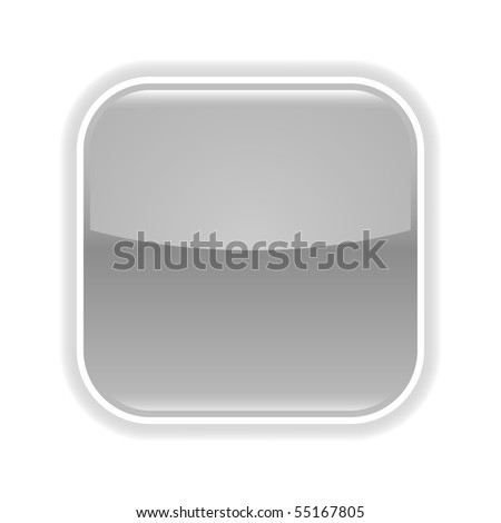 Gray glossy blank web 2.0 button with gray shadow on white background - stock vector
