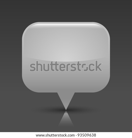Gray glossy empty blank map pin button. Rounded rectangle web icon with black shadow and color reflection on dark gray background. This vector saved in 8 eps. See more buttons in my gallery - stock vector