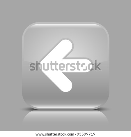 Gray glossy internet button with arrow left symbol. Rounded square shape icon with black shadow and light reflection on gray background. This vector saved in 8 eps. See more buttons in my gallery - stock vector