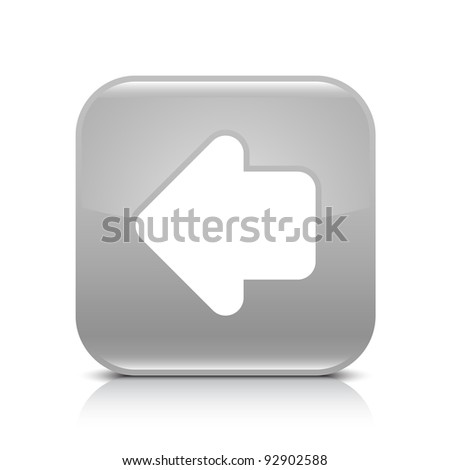 Gray glossy internet button with arrow left symbol. Rounded square shape icon with shadow and reflection on white background. This vector illustration created and saved in 8 eps - stock vector