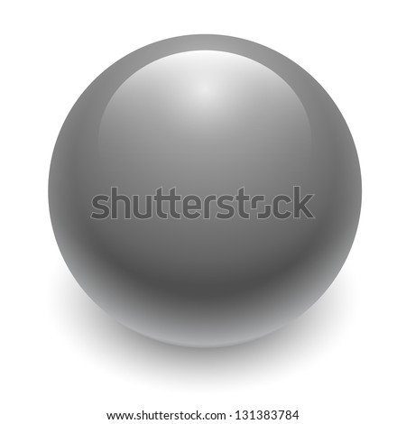 Gray glossy sphere isolated on white. Vector illustration for your design. - stock vector