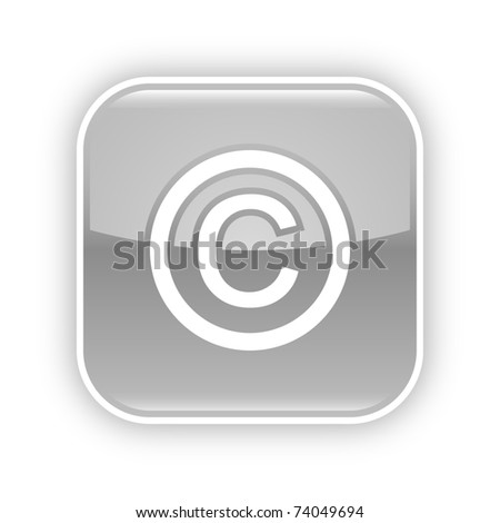Gray glossy web 2.0 button with copyright sign. Rounded square sticker with gray shadow on white. 10 eps - stock vector
