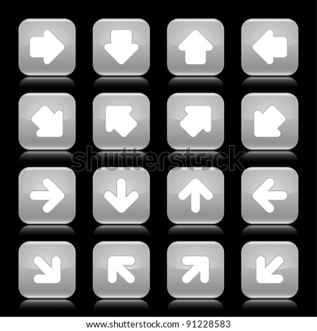 Gray glossy web button with white arrow sign. Rounded square shape internet icon with reflection on black background. This vector illustration saved in 8 eps - stock vector
