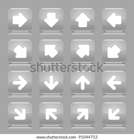 Gray glossy web button with white arrow sign. Rounded square shape internet icon with shadow and reflection on light gray background. This vector illustration created and saved in 8 eps