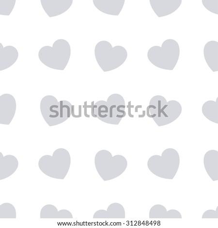Gray hearts seamless bakground pattern. Vector illustration - stock vector