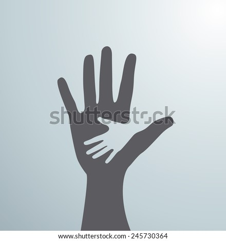 Gray helping hands. Idea of the sign for the association of care - hand in hand. Vector - stock vector