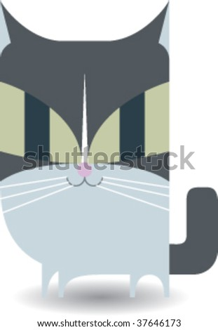 Gray Kitty (Cat) - stock vector