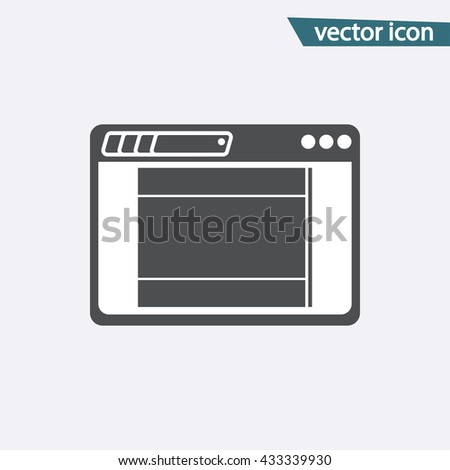 Gray Landing Page icon isolated on background. Modern flat pictogram, business,  marketing, internet concept. Trendy Simple vector symbol for web site design or button to mobile app Logo illustration  - stock vector