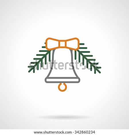Gray line bell with yellow bow hanging on fir-tree branch. Christmas decorations. Simple color line style vector icon. Single web design element for mobile app or website. - stock vector