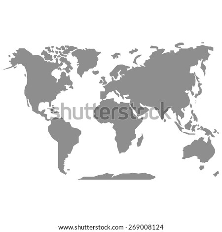 Gray map of the world - stock vector