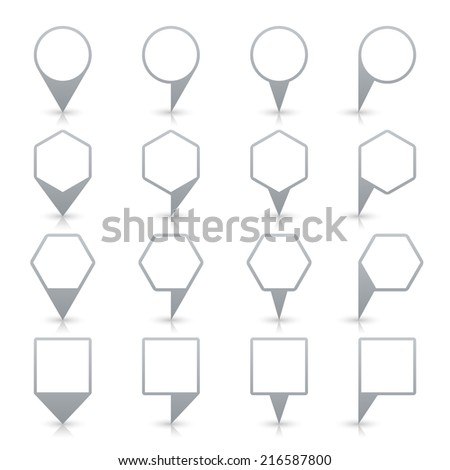 Gray map pin icon location sign with gray reflection and shadow isolated on white background  in flat simple style. This web design element save in vector illustration 8 ep - stock vector