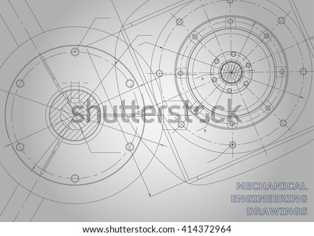 Gray Mechanical engineering drawings. Background for inscription. Vector Corporate Identity - stock vector
