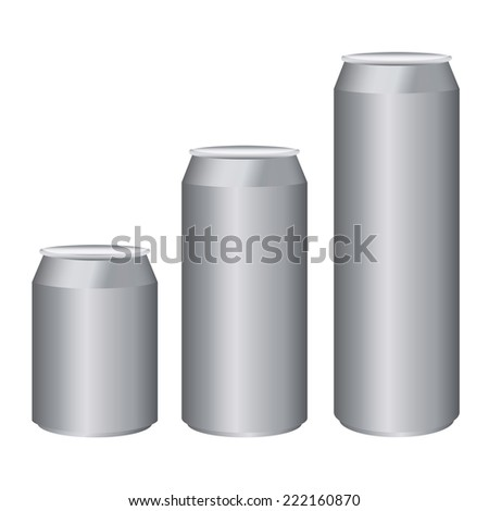 Gray metal cans short medium long size isolated on white - stock vector