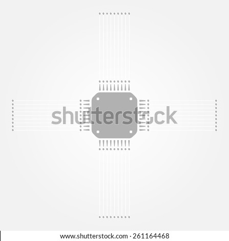 gray microchip on the gray gradient background - stock vector