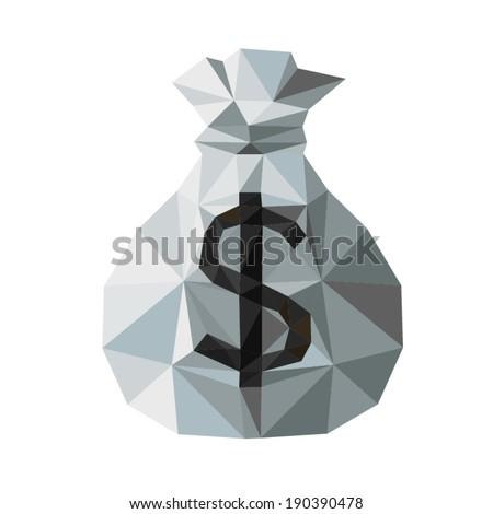 Gray  Money Bag, by triangles, polygon vector illustration - stock vector